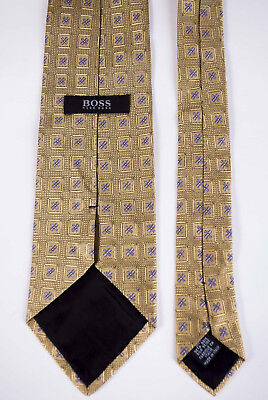 Hugo Boss Tie Necktie Gold Geometric 100% Silk Made in Italy *C170713