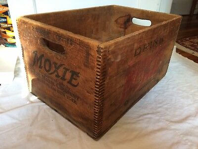 Vintage MOXIE Soda Wood Crate ~ Solid & Complete ~ Box Case Antique ~ Sweet!