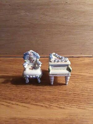 Vintage Elfinware Porcelain Piano and Chair, Made In Germany