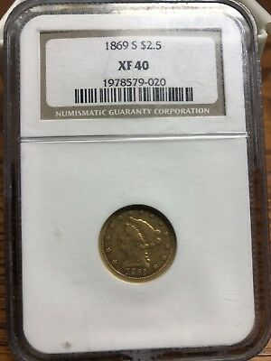 1869-S $2 1/2 Liberty Head Gold Quarter Eagle Ngc Xf40 $2.5 Dollar