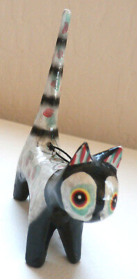 "2 Vintage    ""One of a Kind""   HAND CARVED & HAND PAINTED WOODEN CATS....MEOW!!!"