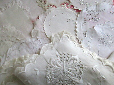ANTIQUE LACE DOILIES White Wedding Fine Linens Lot + 20x48 Butterfly Runner Vtg