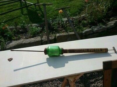 Vintage Browns Green Crystal Glass Crop Duster- Garden Collectible Antique