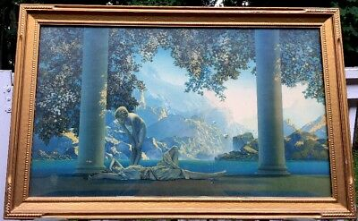 "ANTIQUE Maxfield Parrish ""DAYBREAK"" Art Deco HUGE 33"" X 21"" ULTIMATE!"