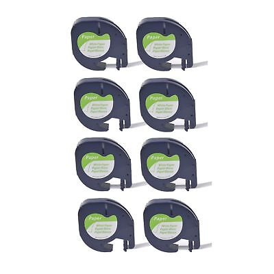 8PK Paper Label Tape for DYMO Letra Tag QX50 LT 91330 Black on White 12MM