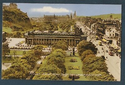 Princes Street Scott Monument Edinburgh Scotland 1965 Vintage Postcard