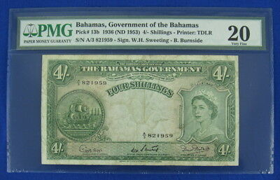BAHAMAS ND (1953) 4 FOUR SHILLINGS NOTE, P13b, PMG 20 VERY FINE