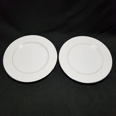 "VTG Carlton China Plymouth 303 Plates 10 1/2"" Lot Of 2 White On White Japan"
