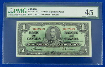 CANADA 1937 $1 ONE DOLLAR NOTE, BC-21c, WIDE SIGNATURE PANEL, PMG 45