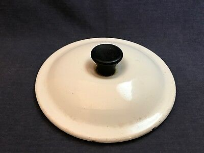 Vintage LE CREUSET White Cast Iron Enamel LID 16 France Pot