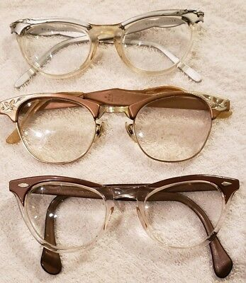 3a8d3d3267f Vintage American Optical CAT EYE 12k gold Art Craft Eyeglasses Aluminum Tart