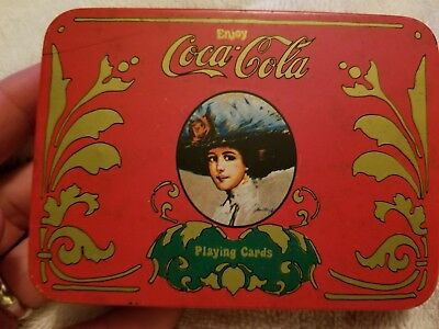 Vintage Coca-Cola Playing Cards with Score Pad and Pencil in Tin