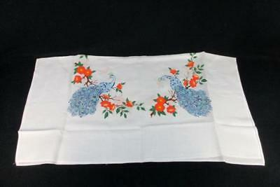 Beautiful Hand Painted Peacock on Poppy Flower Branch Vintage Table Cloth