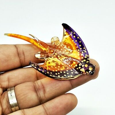 Stingray Stand Fish Marine Aquarium Figurine Miniature Crystal Ray Gold  Decor