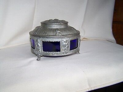Vintage FANCY EMBOSSED Silvertone Metal DRESSER VANITY BOX w COBALT BLUE GLASS