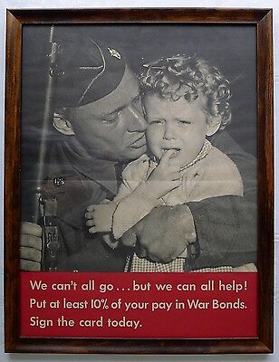 ✔ RARE! 1942 Original WWII WE CAN'T ALL GO US War Bond Photo Lithograph Poster