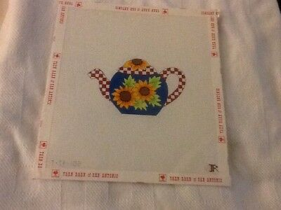 "Handpainted Needlepoint Canvas -- ""Country Teapot"""