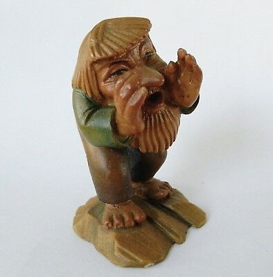 Vintage ANRI Italy WOOD Carving Little Folks of Salvans The Caller gnome troll