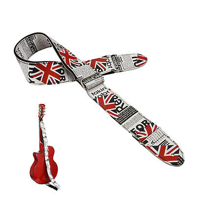 1pc Guitar Strap Leather British Flag Pattern PU Adjustable Acoustic Guitar Bass