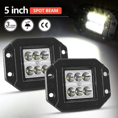 Pair 5inch Flush Mount CREE Spot LED Cube Pods Work Light Offroad Truck SUV 60W