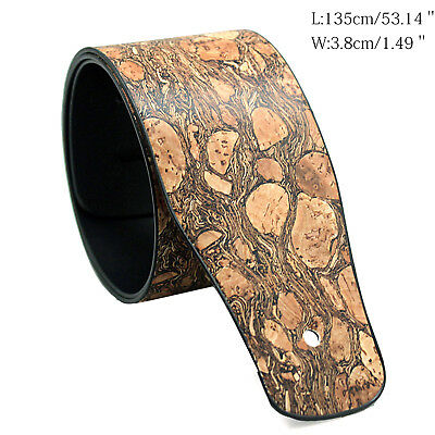 Guitar Strap Leather Embossed Wood PU Adjustable Acoustic Electric Bass Brown