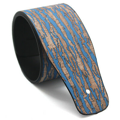 Guitar Strap Leather Embossed Wood PU Adjustable Acoustic Electric Bass Blue