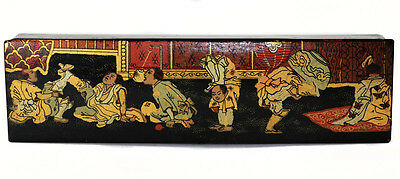 Japanese Meiji black lacquer and paint pencil box, with acrobats [10776]