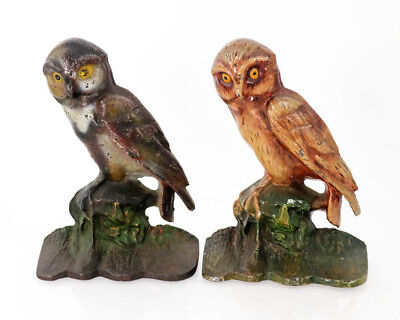 Painted cast iron pair of bookends, owl figures, early 20th c. [11654]
