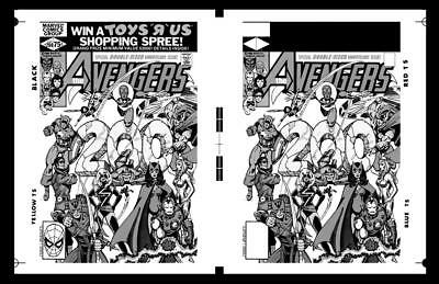 George Perez Avengers #200 Cover Rare Large Production Art Two Up