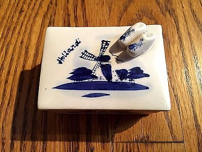 Delft DUTCH SHOES on Top Holland WINDMILL Handpainted Netherlands TRINKET BOX  #
