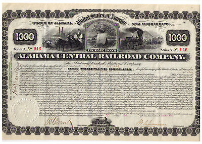 RARE 1879 Alabama Central Railroad bond ENGRAVED [stock certificate] Mississippi
