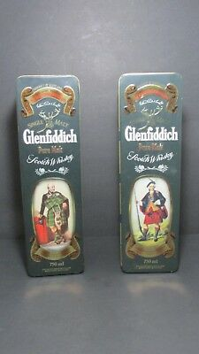 Glenfiddich Empty Single Malt Scotch Whisky Tins Container Metal Box Vintage