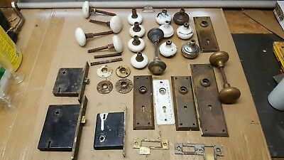 LARGE LOT of ANTIQUE VINTAGE DOOR HARDWARE PARTS:  KNOBS, FACE PLATES, LOCKS