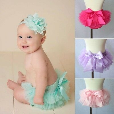 UK Baby Infant Girls Lace Ruffle Bloomer Nappy Panty Diaper Cover Headband Sets