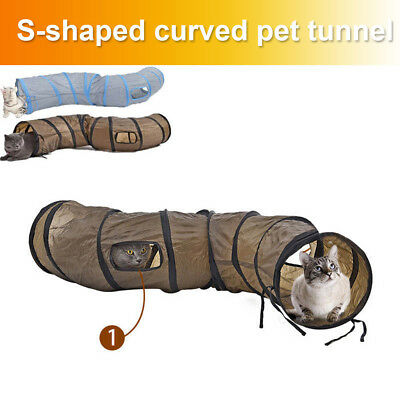 Foldable S Shape Cat Tunnel 2 Holes Pet Toy Cat Kitten Rabbit Play Funny Toys