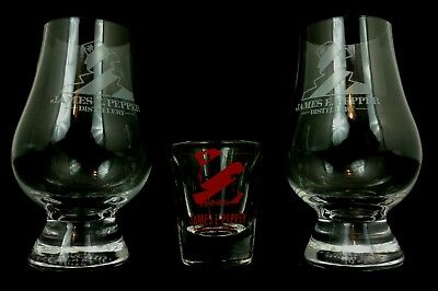 Set of James E. Pepper Distillery Glencairn Bourbon Glasses Lexington Kentucky