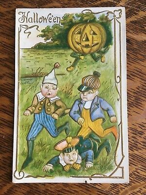 Antique Embossed Halloween Postcard Jack-O-Lantern Chasing Scared Kids Gold Trim