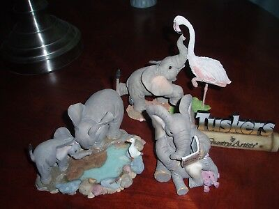 Country Artists Lot Tuskers Adventures of Henry Elephant Flamingo Duck Display