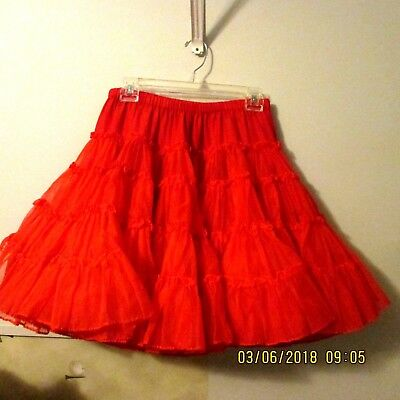 "#2-SQUARE DANCE PETTICOAT,RED NYLON  1 layers  , x FULL,waist 22"" -34"""