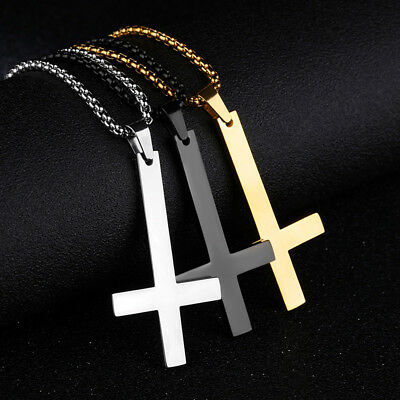 Men Women Jewelry Inverted Cross Pendant Necklace Punk Stainless Steel 1PC 20''