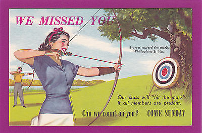 REL08 Church Reminder, Bow & Arrow, Target, Vintage Postcard