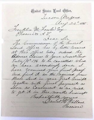 1885 Arizona Territory Tucson Land Office Letter