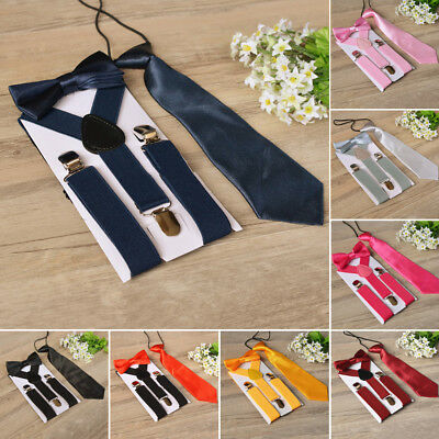 Polyester Kids Design Suspenders And Bowtie Bow Tie Set Matching Ties Outfits