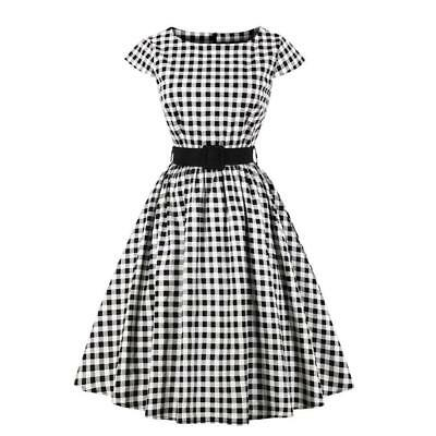 Womens Plaid Ladies Vintage 1950s 60s Ball Gown Party Swing Skaters Dress 4XL