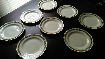 """Lot of 8 Steubenville Ivory 7 1/4"""" Salad Bread Plate Gold Pheasant Rose Border"""