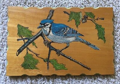 Vintage Hand Crafted Wood Burned And Painted Plaque- Blue Jay 1980s/1990s