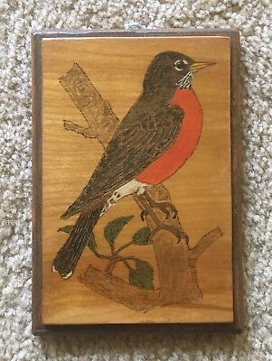 Vintage Hand Crafted Wood Burned And Painted Plaque- Robin 1987
