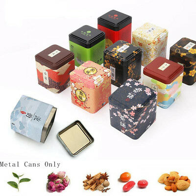 Storage Herb Stash Jar Sealed Container Metal Tin Cans Iron Square Boxes