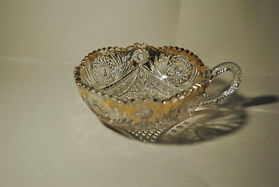 Vintage Candy Relish Dish Cut Glass Sawtooth Edge Crystal Clear Nut Bowl Handle