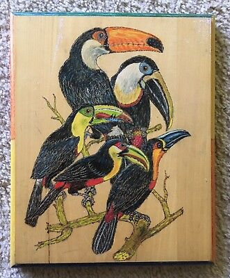 Vintage Hand Crafted Wood Burned And Painted Plaque- 5 Toucans 1991
